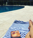 """Alexandra West on Instagram """"Pool time hangs after a crazy night on my new lollbeach towel and dress It s huge and comfy to lie on summer humpday"""""""