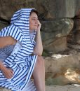 Kate in striped LOLL towel