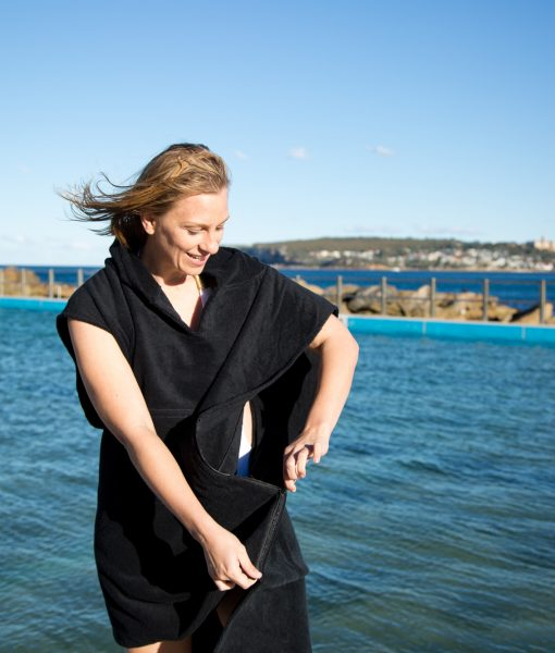 Black towel poncho for adults