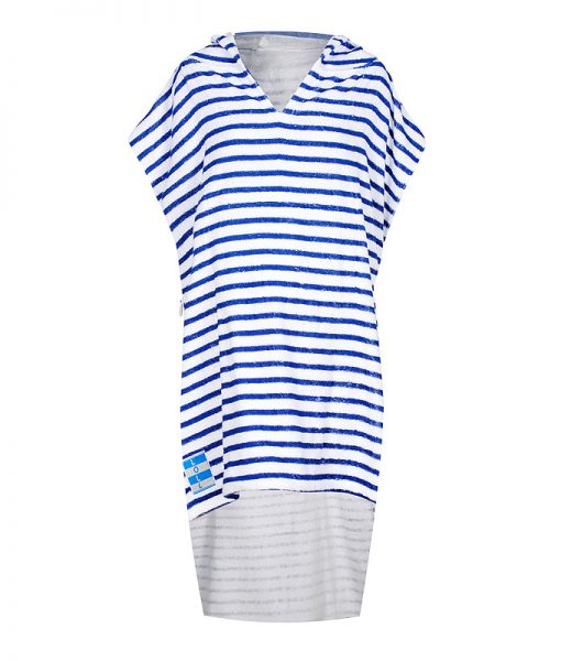 Striped beach poncho towel with hood
