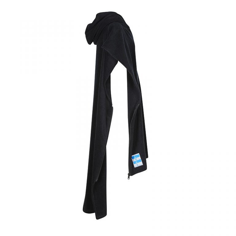 Unzipped black beach towel