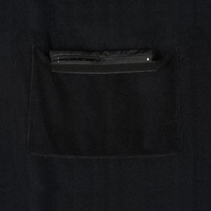 Black beach towel with internal pocket