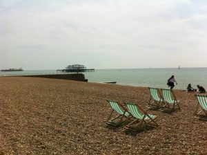 View of the old pier on Brighton beach