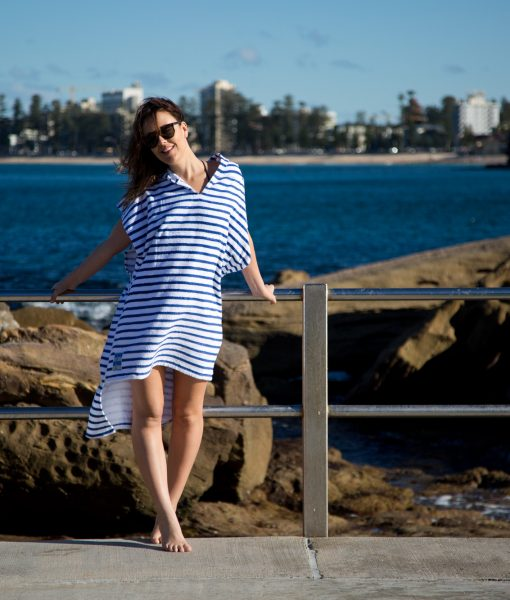 Stripey wearable beach towel