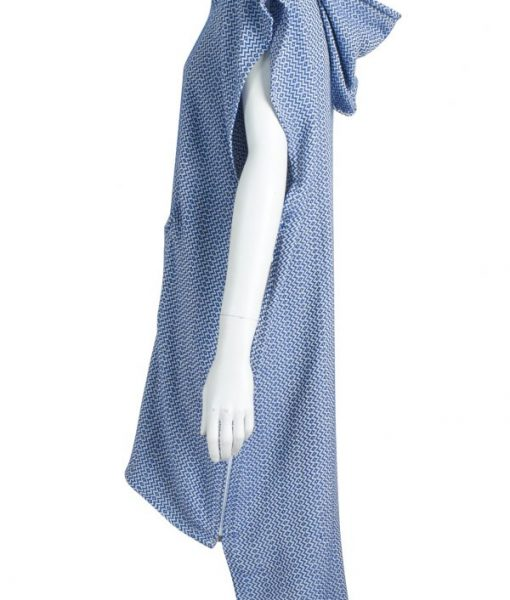 Side view of blue turkish poncho towel