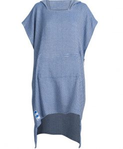 hooded turkish towel in blue