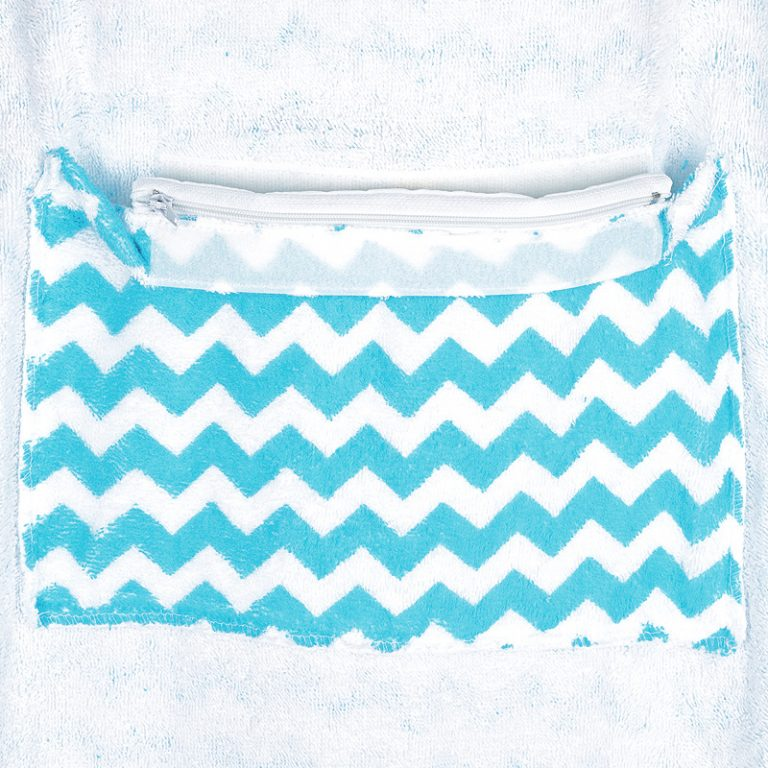 Inside pocket of Choppy ocean waves hooded towel