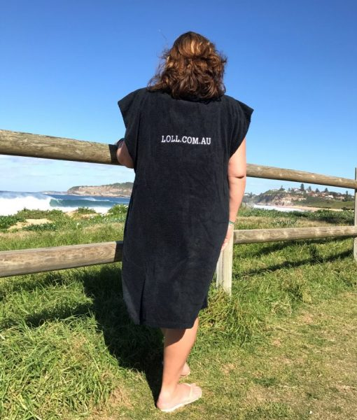 Black custom poncho towel