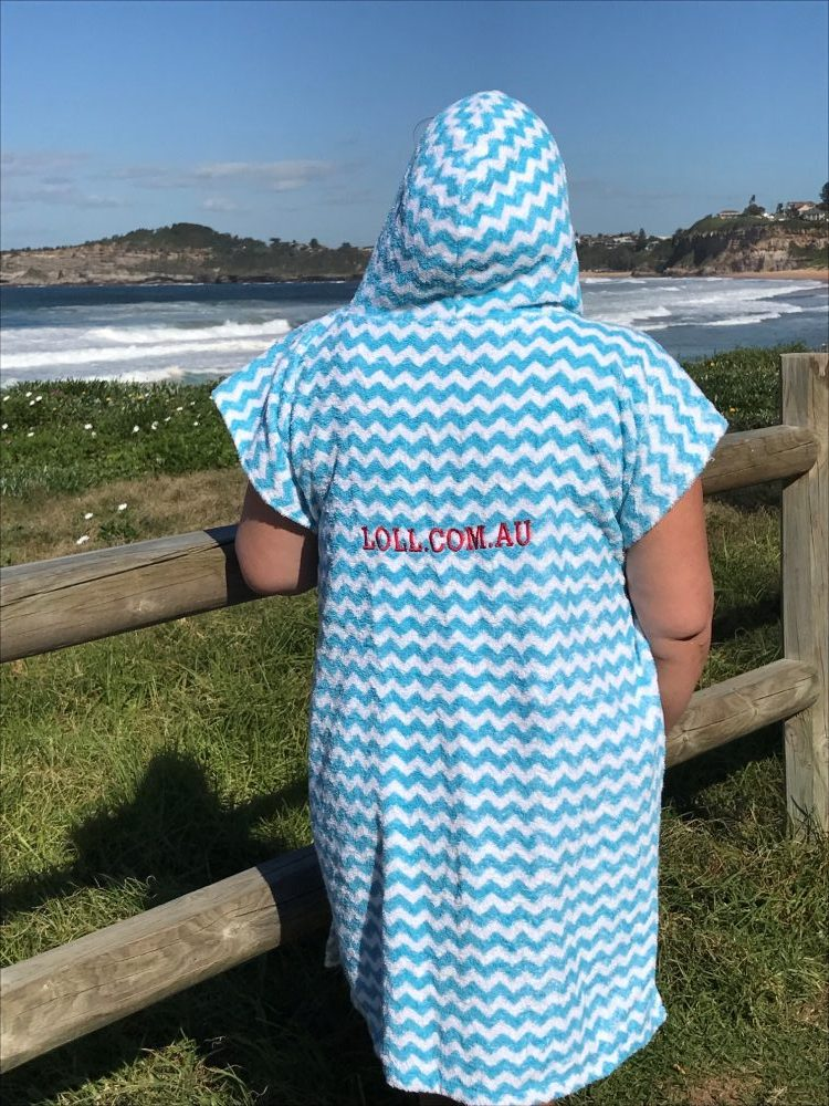 Blue and white custom poncho towels for teams