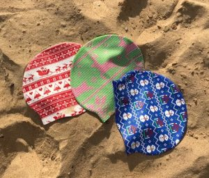 Christmas swim caps