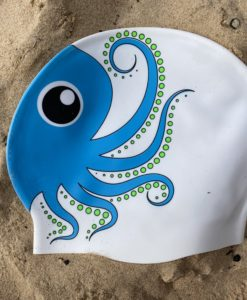 blue and white octopus swim hat